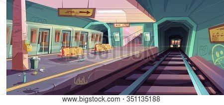 Metro Station, Arriving Train To Empty Subway Platform From Underground Tunnel. Vector Cartoon Illus