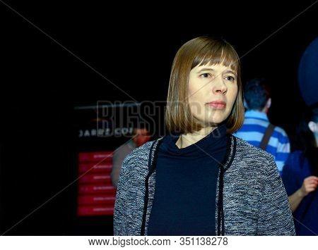 Tallinn, Estonia - April 1, 2017: Estonian President Kersti Kaljulaid At The Conference. April 1, 20