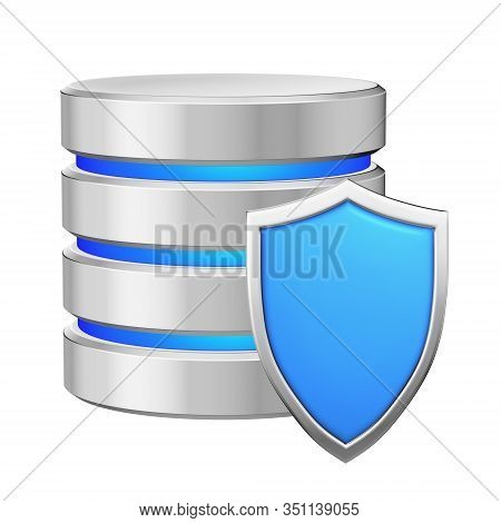 Database With Blue Metal Shield Protected From Unauthorized Access, Data Protection Concept, 3d Illu