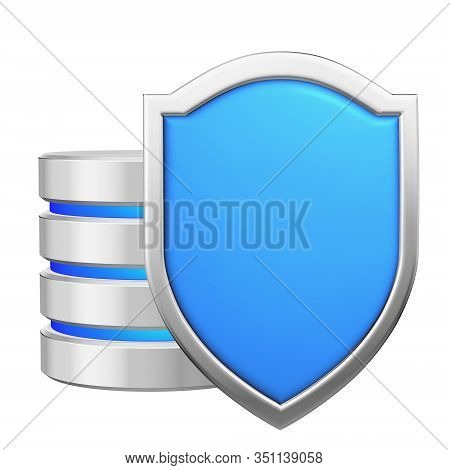 Data Base Behind Blue Metal Shield Protected From Unauthorized Access, Data Protection Concept, 3d I