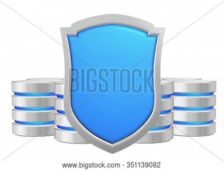 Databases Group Behind Blue Metal Shield Protected From Unauthorized Access, Data Privacy Concept, 3
