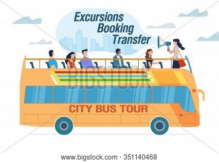 City Bus Tour And Excursion Booking Transfer Advert. Happy Excited People Tourist Traveling With Gui