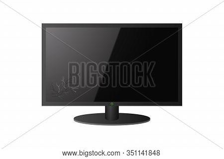 The Computer Screen Is Broken. Display Smash. Vector Illustration.