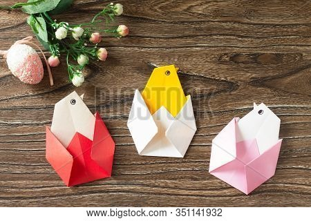 Gift Easter Origami Chicken. Handmade. The Project Of Children's Creativity, Crafts, Crafts For Chil