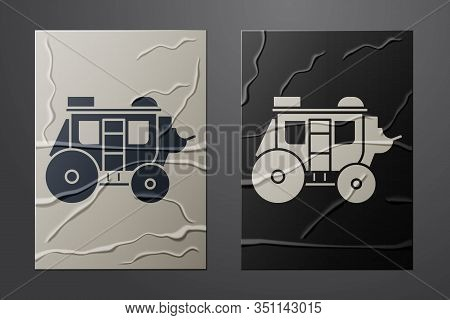White Western Stagecoach Icon Isolated On Crumpled Paper Background. Paper Art Style. Vector Illustr
