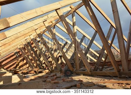 House Roof Framework Construction  Roofing Construction With Trusses Frame, Eaves, Wooden Beams