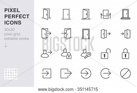 Open Door Line Icon Set. Login, Logout, Register, Password, Vip Entrance, Key, Lock, Exit Minimal Ve