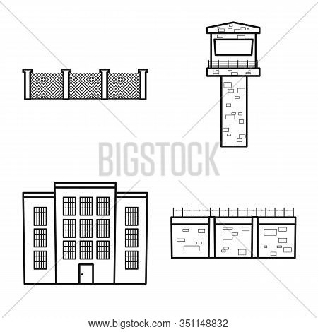 Isolated Object Of Jail And Law Symbol. Jail And Crime Vector Icon For Stock.
