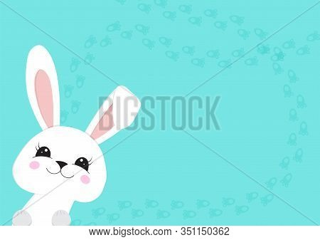 Cute Easter Bunny Peeps Out. Easter Bunny. Happy Bunny. Happy Easter - Vector Illustration