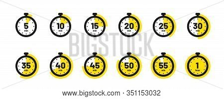 Set Of Timer And Stopwatch Icons. Kitchen Timer Icon With Different Minutes. Cooking Time Symbols An