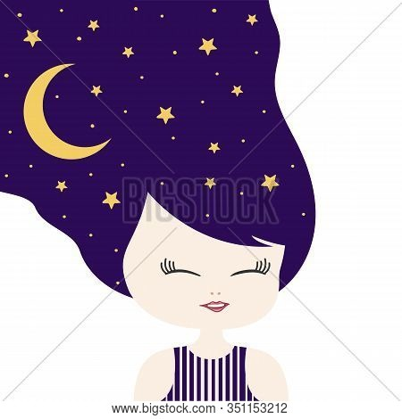 Little Girl With Sweet Dream Universe. Beautiful Woman With Moon And Stars Night In Hair