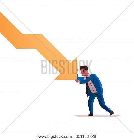 Stressed Businessman Stopping Economic Arrow Falling Down Financial Crisis Bankrupt Investment Risk