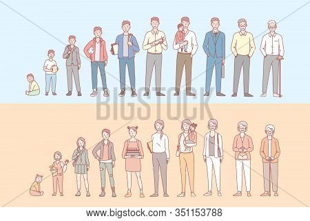 Life Cycle Of Humans Set Concept. Collection Of Men And Womens Stage Of Life, Growing Up And Aging.