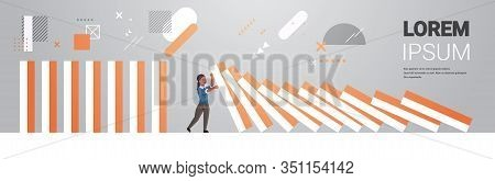 Stressed Businesswoman Stopping Domino Effect Crisis Management Chain Reaction Finance Intervention