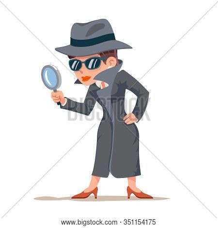 Little Detective Woman Snoop Magnifying Glass Tec Search Help Female Cartoon Character Design Isolat