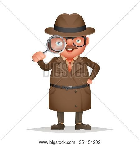 Magnifying Glass Detective Spy Investigation Coat Eye 3d Cartoon Character Isolated Vector Illustrat