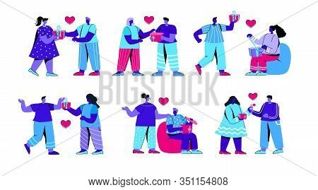 Set Of Men And Women Opening Gift Boxes. Collection Of People Unwrapping Or Unboxing Holiday Present