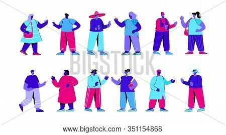 Set Of People Of Different Race, Ethnicity, Nationality. Bundle Of Foreigners Waving Hands And Havin
