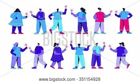 Set Of Joyful Boys And Girls With Sparklers Having Fun At Festive Party Or Festival. Collection Of M