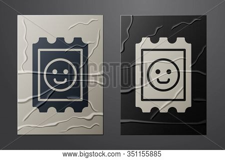 White Lsd Acid Mark Icon Isolated On Crumpled Paper Background. Acid Narcotic. Postmark. Postage Sta