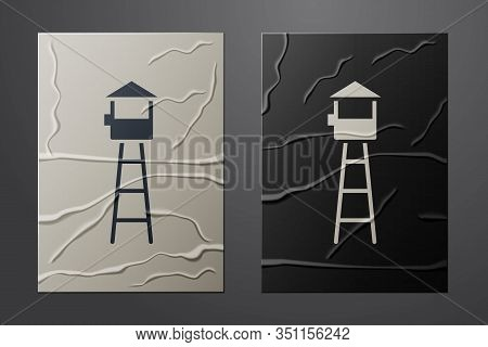 White Watch Tower Icon Isolated On Crumpled Paper Background. Prison Tower, Checkpoint, Protection T