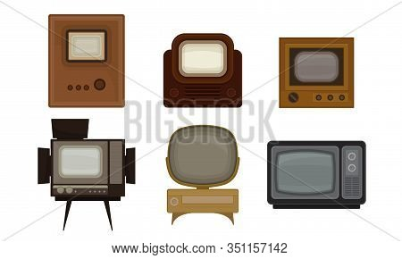 Retro Media Vector Set. Out Of Date Broadcasting Technology