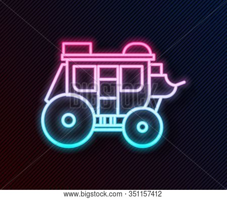 Glowing Neon Line Western Stagecoach Icon Isolated On Black Background. Vector Illustration