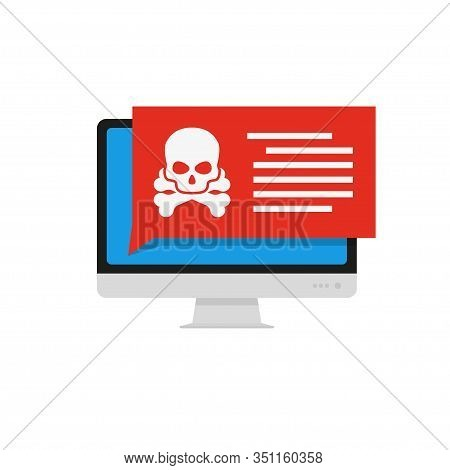 Computer Virus, Great Design For Any Purposes. Computer Screen Error. Virus Icon Vector