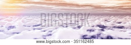 Sky With Clouds At Sunset Or Sunrise.