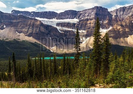 The Rockies. Crowfoot Glacier On Crowfoot Mountain From The Hiking Trail To Helen Lake. Banff Nation