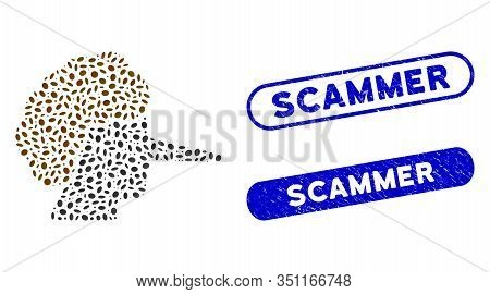Mosaic Liar And Corroded Stamp Seals With Scammer Phrase. Mosaic Vector Liar Is Composed With Scatte