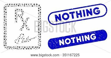 Mosaic Prescription Page And Rubber Stamp Seals With Nothing Caption. Mosaic Vector Prescription Pag