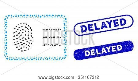 Mosaic Biometric Account And Distressed Stamp Seals With Delayed Text. Mosaic Vector Biometric Accou