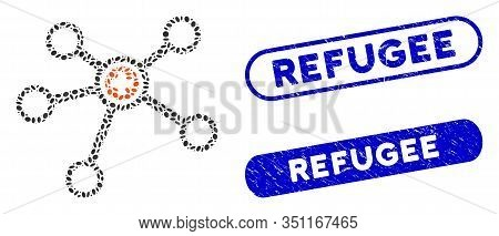 Collage Health Care Links And Grunge Stamp Seals With Refugee Phrase. Mosaic Vector Health Care Link