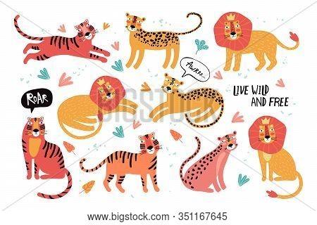 Set Of Wild Cats, Leopard, Lion, Tiger. Animals Taiwan. Flat Vector Illustration. Wild Exotic Animal