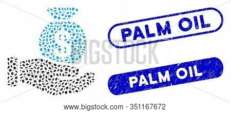 Mosaic Invest Hand And Distressed Stamp Seals With Palm Oil Text. Mosaic Vector Invest Hand Is Desig