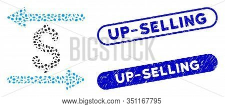 Mosaic Money Transactions And Distressed Stamp Seals With Up-selling Text. Mosaic Vector Money Trans