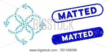 Mosaic Knot Rotation And Grunge Stamp Seals With Matted Phrase. Mosaic Vector Knot Rotation Is Compo