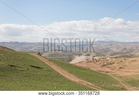 Panoramic View Of The Hills Of Samaria With Villages In The Distance In Israel
