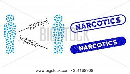 Mosaic Men Syringe Exchange And Distressed Stamp Seals With Narcotics Phrase. Mosaic Vector Men Syri
