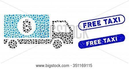 Mosaic Bitcoin Delivery Lorry And Grunge Stamp Seals With Free Taxi Text. Mosaic Vector Bitcoin Deli