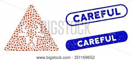 Mosaic Cow Warning And Rubber Stamp Seals With Careful Text. Mosaic Vector Cow Warning Is Designed W