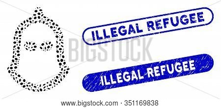 Mosaic Executioner Helmet And Rubber Stamp Seals With Illegal Refugee Caption. Mosaic Vector Executi