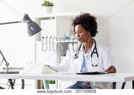 Afro American Doctor In Hospital With Stetoscope