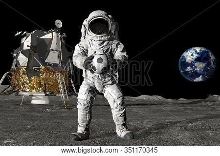 3d Rendering Astronaut On The Moon Playing Football. Slow Motion. Elements Of This Video Furnished B
