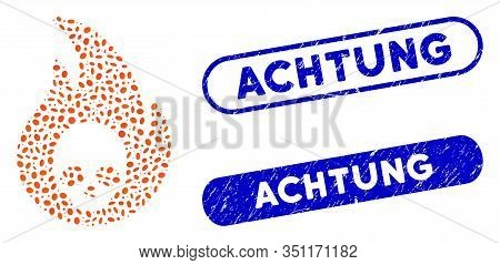 Mosaic Hellfire And Grunge Stamp Seals With Achtung Caption. Mosaic Vector Hellfire Is Designed With