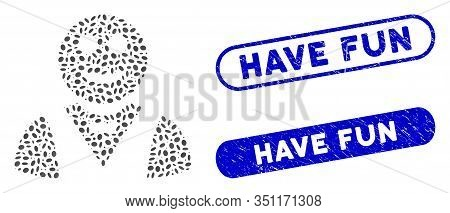 Mosaic Glad Waiter And Rubber Stamp Seals With Have Fun Text. Mosaic Vector Glad Waiter Is Formed Wi
