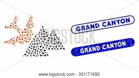 Mosaic Piramides Airplane Crash And Distressed Stamp Seals With Grand Canyon Caption. Mosaic Vector