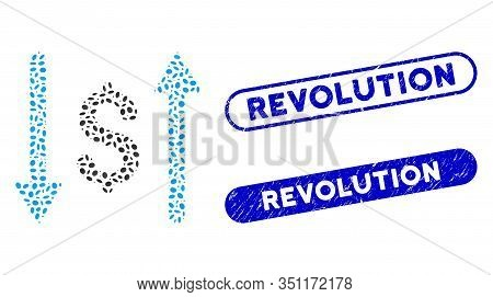 Mosaic Dollar Swap And Distressed Stamp Seals With Revolution Phrase. Mosaic Vector Dollar Swap Is C