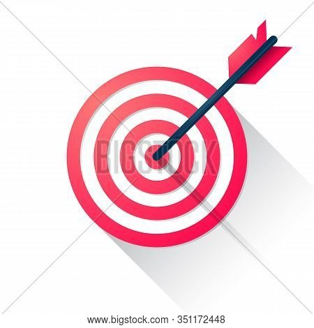 Vector Illustration Target With An Arrow Flat Icon Concept. Market Goal, Bullseye Sign Isolated On B